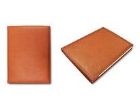 书褐色盖子皮革附注 图库摄影