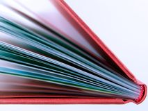 书详细资料红色 免版税库存图片
