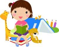 书逗人喜爱的女孩读取 库存图片