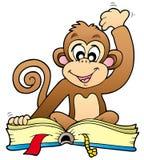 书逗人喜爱的猴子读取 免版税库存图片