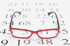 读书镜片和视力检查表 库存照片
