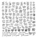 书面的兆套100黑白手信关于爱 库存图片
