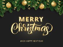 书面的圣诞快乐手字法 寒假背景 与杉树的节日边界分支和装饰品 库存照片