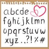 书面的字母表现有量 库存例证