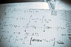 书面的执行数学纸白色 库存照片