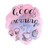 书面的早晨好手与速写的咖啡的字法、松饼和咖啡豆 库存例证