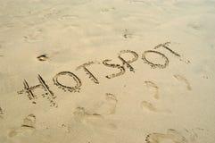 书面的热点沙子 免版税库存图片