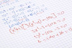 书面的现有量算术 免版税图库摄影