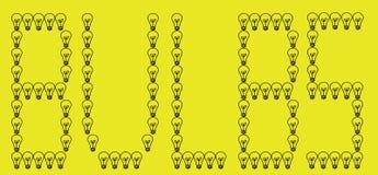 书面的背景电灯泡黄色 免版税库存照片
