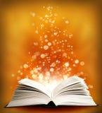 书魔术开放sparklings 免版税图库摄影