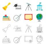 书,苹果,有圈子的,与封印,地球的一个文凭一个指南针 在动画片,概述的学校集合汇集象 免版税库存图片