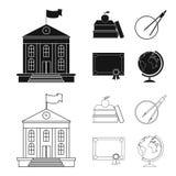 书,苹果,有圈子的,与封印,地球的一个文凭一个指南针 在黑色,概述的学校集合汇集象 免版税库存图片
