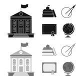 书,苹果,有圈子的,与封印,地球的一个文凭一个指南针 在黑色, monochrom的学校集合汇集象 免版税库存图片