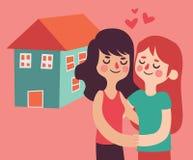 买一个新房的同性恋夫妇 免版税库存照片