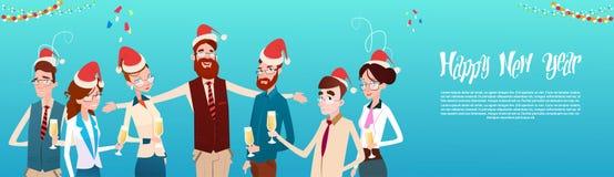 买卖人庆祝圣诞快乐和新年快乐办公室商人队圣诞老人帽子 图库摄影