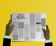 买卖人读书报纸 库存图片