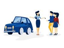 买在沙龙的年轻夫妇蓝色汽车 向量例证