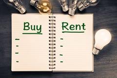 买并且租赁比较 免版税库存照片