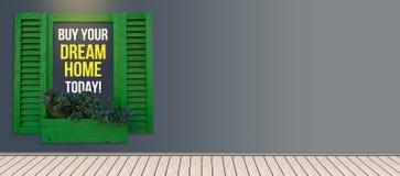 买您的梦想家庭横幅与拷贝空间的木横幅 免版税库存图片
