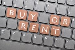 买或租赁在键盘的钥匙 免版税图库摄影