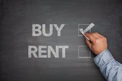 买或租赁在黑板 免版税库存图片