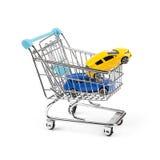 买新的汽车概念,在购物车的两辆汽车 免版税图库摄影