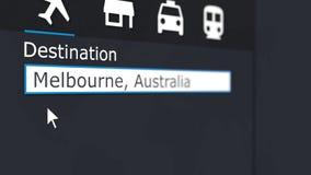 买的飞机票向墨尔本在网上 旅行到澳大利亚概念性3D翻译