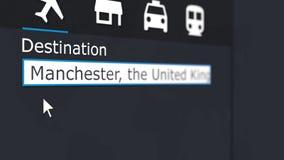 买的飞机票向曼彻斯特在网上 旅行到英国概念性3D翻译