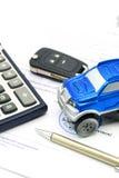 买进卖出租企业概念的一辆汽车 免版税库存照片