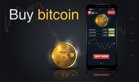 买Bitcoin 网上隐藏付款概念 有金黄硬币的,按钮购买智能手机 薪水每由真正货币的点击 传染媒介为 库存例证