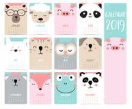 乱画与熊,猪,熊猫,绵羊,猫,猫头鹰,狐狸,f的日历集合2019年 向量例证