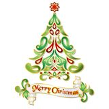 乱画与花卉样式的圣诞树例证 图库摄影