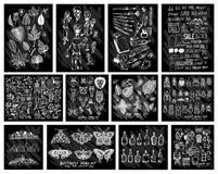 乱画事假的传染媒介大收藏,鬼魂,艺术工具学校, 免版税库存照片