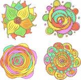 乱画五颜六色的荧光的坛场集合 动画片部族种族f 库存例证