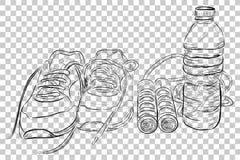 乱画健康生活方式、体育鞋子、跳跃的/跨越横线和矿泉水瓶的例证在透明作用Bac 免版税图库摄影