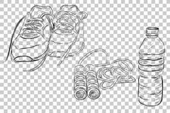 乱画健康生活方式、体育鞋子、跳跃的/跨越横线和矿泉水瓶的例证在透明作用Bac 图库摄影