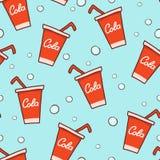 乱画可乐无缝的样式背景 免版税库存照片