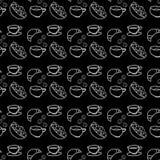 乱画咖啡和茶无缝的样式 库存图片
