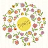 乱画开花围绕框架 图库摄影