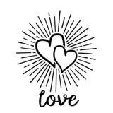 乱画心脏爱与光芒太阳的样式 向量例证