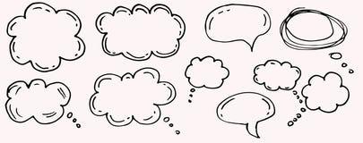乱画想法的云彩,闲谈动画片泡影 免版税库存图片
