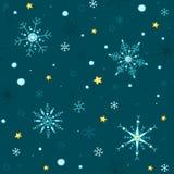乱画样式传染媒介雪花和星无缝的背景 免版税库存图片