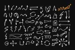 乱画样式手拉的传染媒介箭头集合 库存例证