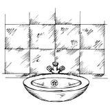 乱画水盆和瓦片 图库摄影