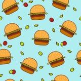 乱画汉堡包无缝的样式背景 免版税库存图片