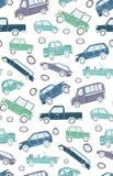 乱画汽车的逗人喜爱的无缝的样式 库存例证