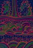 乱画波浪背景 动画片荧光的水装饰品 也corel凹道例证向量