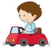 乱画男孩推进玩具汽车 向量例证