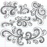 乱画笔记本集合概略漩涡向量 免版税库存图片