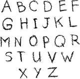 乱画简单的墨水英语字母表 手拉的拉丁字母 Ve 库存例证